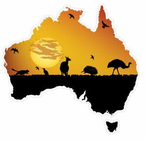 Small Australian Flag Map Sticker with Kangaroo , emu , australian animals stick
