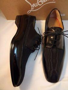 CHRISTIAN LOUBOUTIN 40 7 Shoes Black Patent Tuxedo Formal Mens Derby NWB $995