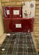 Pottery Barn Velvet Queen Quilt Shams Pillow Plaid Santa Queen Sheet Christmas