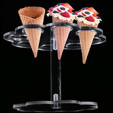 Acrylic 8 Holes Ice Cream Display Stand Wedding Party Buffet Cone Holder Decor