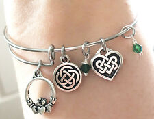 Silver Plated Claddagh Friend Celtic Knot Heart Charm Bracelet Scottish Irish