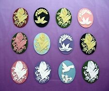 flowers 40mm x 30mm craft Cameos Lot A 12 unset mixed Colors Lily of the Valley