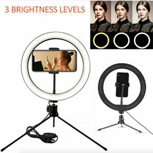 LED Selfie Flash Ring Light Mobile Phone Holder Tripod Kit For iPhone UK Tiktok