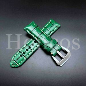 20-26 MM Brown Blue Leather Alligator Watch Band Strap Buckle Fits for Panerai