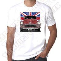 Personalised plate option Morris Minor Union Jack T-shirt pick Moggy colour