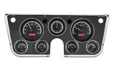67-72 Chevy Truck C10 Dakota Digital Black Alloy & Red Analog Clock Gauge Kit