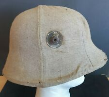 More details for a complete imperial german m.16 steel helmet with original 1917 canvas cover ..