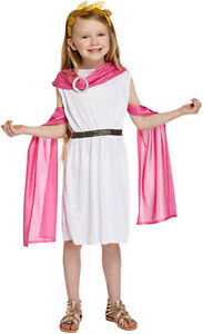 Children Girls Greek Goddess Fancy Dress Costume Roman Toga Book Week Kids