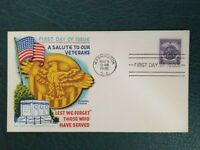 1946 Fluegel Patriotic First Day Cover Salute to Our Veterans Military Cachet