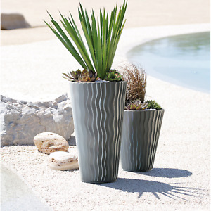 Tall Planter Flower Pot Round Decorative Indoor Outdoor Weatherproof 22L 37L 45L