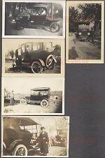 Lot of 5 Vintage Car Photos Men & Women w/ Model T Ford Automobiles 683823