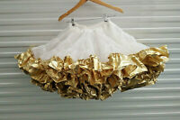 Metallic Gold Vintage Petticoat Square Dance Costume Tiered Full Waist 24 - 27