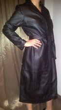 Ladies Womans Designer Soft Nappa Sheep Real Leather Long Trench Coat Macs Black
