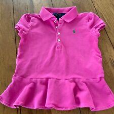 Polo Ralph Lauren Girls Pink Peplum Button Shirt Short Sleeve Size 6X