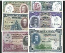 LOTE 6 BILLETES REPUBLICA PESETAS 1925 1931 RESELLO CRUZ SAN HERMENEGILDO