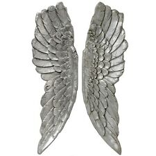 ANTIQUE SILVER LARGE ANGEL WINGS - A DECORATIVE ITEM TO HANG ON THE WALL
