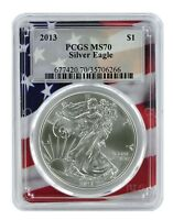 2013 1oz Silver Eagle PCGS MS70 - Flag Frame