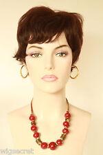 Dark Brown Brunette Short Human Hair  Straight Wigs