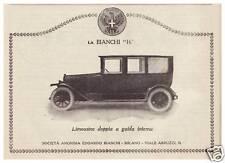PUBBLICITA' 1923 AUTO D'EPOCA BIANCHI 16 LIMOUSINE DOPPIA MOTO BICICLETTA MILANO