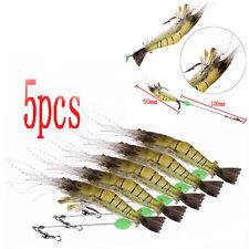 5pcs 10cm Shrimp Fishing Simulation Noctilucent Soft Prawn Lures Hook Bait Hooks