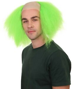 Scary Green Men Head Bald Cap With Hair Circus Clown Cosplay Costume Wig HM-602