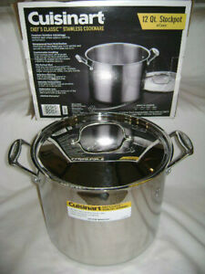 CUISINART CHEF'S CLASSIC ALUMINUM CORE STAINLESS STEEL 12 QT STOCKPOT NEW IN BOX