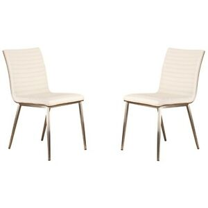 Armen Living Set of 2 Café Stainless Dining Chair, White - LCCACHWHB201