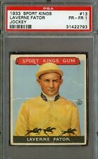 Laverne Fator 1933 Goudey Sport Kings Jockey #13 PSA 1 PR-FR
