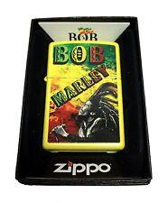 Zippo Custom Lighter Bob Marley with Dreads Rasta Colors Regular Lemon Matte