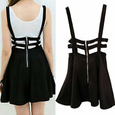 1bfb6d680 Women's Kawaii Suspender Skirt Straps Flared Pleated Cocktail Mini Dress  Summer