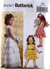 DRESS Fancy Wedding Butterick Sewing Pattern 4967 NEW Size Child/Girls 2-3-4-5