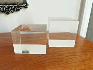 2 SMALL USED LUCITE CUBES CLEAR SOLID ACRYLIC DISPLAY STANDS