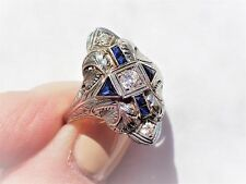 Art Deco Engraved French Cut SAPPHIRES DIAMONDS Cocktail Statement 18K WG RING