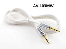 """3ft Mobile-Type Stereo 3.5mm (1/8"""") TRS Male to Male White Flexible Audio Cable"""