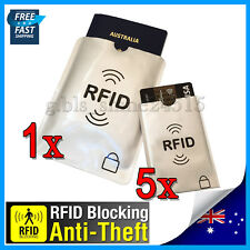 1xL+ 5xS RFID Secure Sleeve Passport Credit Card AntiScan Protect Case Holder