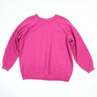 Vtg 90s Faded Distressed Blank Raglan Sweatshirt Mens M Womens L USA Magenta