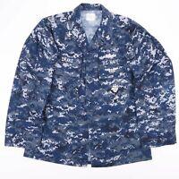Vintage US NAVY Blue Digital Camo BETHEL INDUSTRIES Shirt Size Men's Medium