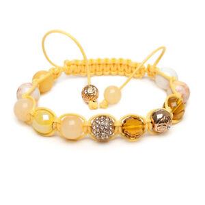 Shamballa Gemstone Bracelet Yellow Jade Gold Pave Mosaic Topaz Crystal UK Made