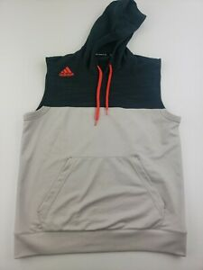 Men's Size Large  Adidas Sleeveless Hoodie Sweatshirt Gray Vest