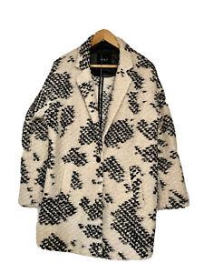 Oui, Boiled Wool Coat, Cocoon Shape, White And Black, Size UK 16/EU 42