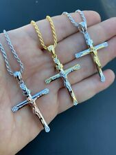 Mens Solid 925 Silver Cross W. Jesus Pendant Yellow Or Rose Gold Finish Necklace