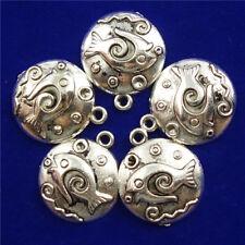 12Pcs Carved Tibetan Silver Fish Round 17x3mm Pendant Bead D18080701