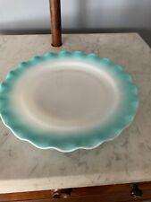 "Vintage Hazel Atlas Crinoline Ripple Blue Dishes 9"" Dinner Plate"