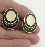 Vintage MONET Navy Blue & Cream Enamel Gold Tone Post Earrings