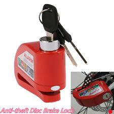 Metal Red Motorcycles ATV Anti-theft Wheel Disc Brake Lock Alarming System 110DB