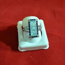 Blue Rectangle cz size 8 Sterling Silver store sample 925 - (3954)