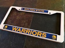 1 Golden State Warriors - White Plastic License Plate Frame - 2D Color Graphics