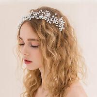 Hochzeit Braut Haarschmuck Strass Tiara Blumen Perlen Haarkamm Silber de~