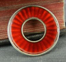 Vintage Einar Modahl 925S Norway Sterling Silver Red Enamel Circle Pin / Brooch
