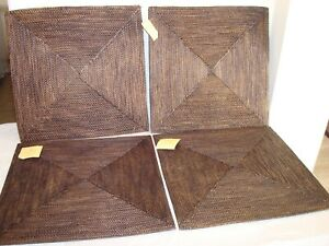 """Set of 4 Pottery Barn Tava Charger Table Dinner Placemat Dark Brown 15"""" Square"""